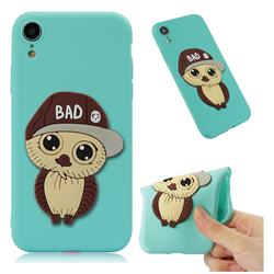 Bad Boy Owl Soft 3D Silicone Case for iPhone Xr (6.1 inch) - Sky Blue