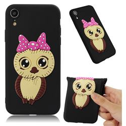 Bowknot Girl Owl Soft 3D Silicone Case for iPhone Xr (6.1 inch) - Black