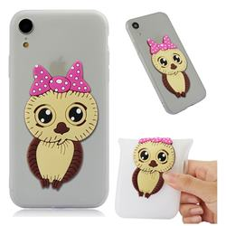 Bowknot Girl Owl Soft 3D Silicone Case for iPhone Xr (6.1 inch) - Translucent White