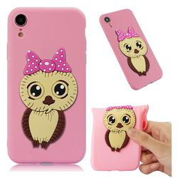 Bowknot Girl Owl Soft 3D Silicone Case for iPhone Xr (6.1 inch) - Pink