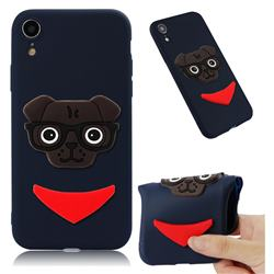 Glasses Dog Soft 3D Silicone Case for iPhone Xr (6.1 inch) - Navy