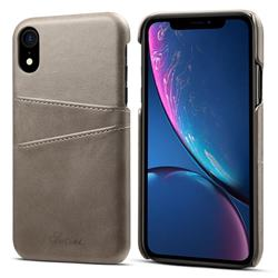 Suteni Retro Classic Card Slots Calf Leather Coated Back Cover for iPhone Xr (6.1 inch) - Gray