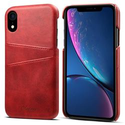 Suteni Retro Classic Card Slots Calf Leather Coated Back Cover for iPhone Xr (6.1 inch) - Red