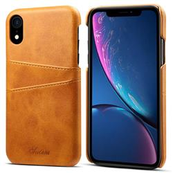 Suteni Retro Classic Card Slots Calf Leather Coated Back Cover for iPhone Xr (6.1 inch) - Khaki