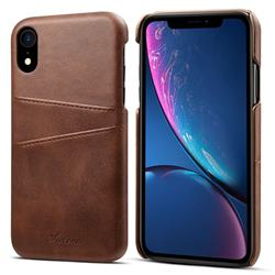 Suteni Retro Classic Card Slots Calf Leather Coated Back Cover for iPhone Xr (6.1 inch) - Brown