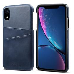Suteni Retro Classic Card Slots Calf Leather Coated Back Cover for iPhone Xr (6.1 inch) - Blue