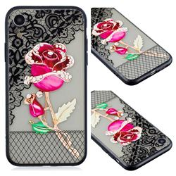 Rose Lace Diamond Flower Soft TPU Back Cover for iPhone Xr (6.1 inch)