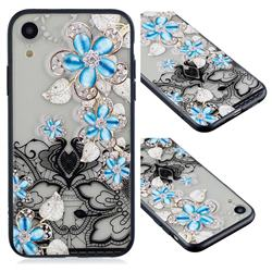 Lilac Lace Diamond Flower Soft TPU Back Cover for iPhone Xr (6.1 inch)