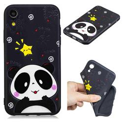 Cute Bear 3D Embossed Relief Black TPU Cell Phone Back Cover for iPhone Xr (6.1 inch)