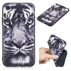 White Tiger 3D Embossed Relief Black TPU Cell Phone Back Cover for iPhone Xr (6.1 inch)