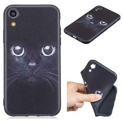 Bearded Feline 3D Embossed Relief Black TPU Cell Phone Back Cover for iPhone Xr (6.1 inch)