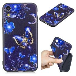 Phnom Penh Butterfly 3D Embossed Relief Black TPU Cell Phone Back Cover for iPhone Xr (6.1 inch)