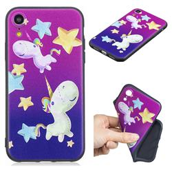 Pony 3D Embossed Relief Black TPU Cell Phone Back Cover for iPhone Xr (6.1 inch)