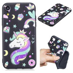Candy Unicorn 3D Embossed Relief Black TPU Cell Phone Back Cover for iPhone Xr (6.1 inch)