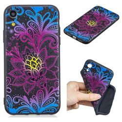 Colorful Lace 3D Embossed Relief Black TPU Cell Phone Back Cover for iPhone Xr (6.1 inch)