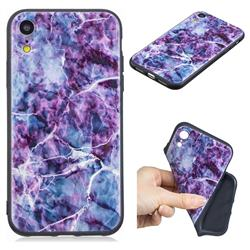 Marble 3D Embossed Relief Black TPU Cell Phone Back Cover for iPhone Xr (6.1 inch)