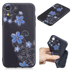 Little Blue Flowers 3D Embossed Relief Black TPU Cell Phone Back Cover for iPhone Xr (6.1 inch)