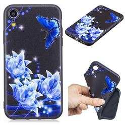 Blue Butterfly 3D Embossed Relief Black TPU Cell Phone Back Cover for iPhone Xr (6.1 inch)