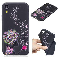 Corolla Girl 3D Embossed Relief Black TPU Cell Phone Back Cover for iPhone Xr (6.1 inch)