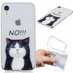 Cat Say No Clear Varnish Soft Phone Back Cover for iPhone Xr (6.1 inch)