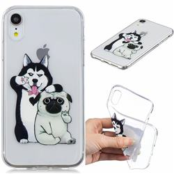 Selfie Dog Clear Varnish Soft Phone Back Cover for iPhone Xr (6.1 inch)