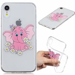 Tiny Pink Elephant Clear Varnish Soft Phone Back Cover for iPhone Xr (6.1 inch)