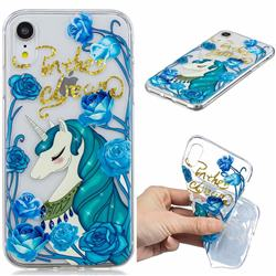 Blue Flower Unicorn Clear Varnish Soft Phone Back Cover for iPhone Xr (6.1 inch)