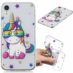 Glasses Unicorn Clear Varnish Soft Phone Back Cover for iPhone Xr (6.1 inch)