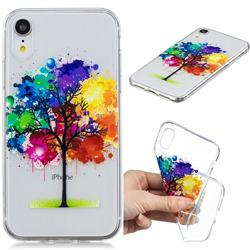 Oil Painting Tree Clear Varnish Soft Phone Back Cover for iPhone Xr (6.1 inch)