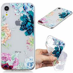 Gem Flower Clear Varnish Soft Phone Back Cover for iPhone Xr (6.1 inch)