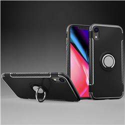 Armor Anti Drop Carbon PC + Silicon Invisible Ring Holder Phone Case for iPhone Xr (6.1 inch) - Black