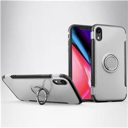 Armor Anti Drop Carbon PC + Silicon Invisible Ring Holder Phone Case for iPhone Xr (6.1 inch) - Silver