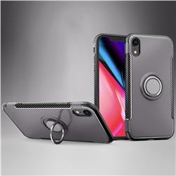 Armor Anti Drop Carbon PC + Silicon Invisible Ring Holder Phone Case for iPhone Xr (6.1 inch) - Grey