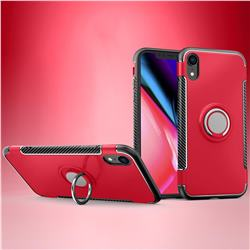 Armor Anti Drop Carbon PC + Silicon Invisible Ring Holder Phone Case for iPhone Xr (6.1 inch) - Red