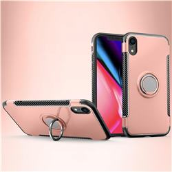 Armor Anti Drop Carbon PC + Silicon Invisible Ring Holder Phone Case for iPhone Xr (6.1 inch) - Rose Gold