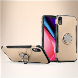 Armor Anti Drop Carbon PC + Silicon Invisible Ring Holder Phone Case for iPhone Xr (6.1 inch) - Champagne