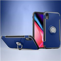 Armor Anti Drop Carbon PC + Silicon Invisible Ring Holder Phone Case for iPhone Xr (6.1 inch) - Sapphire