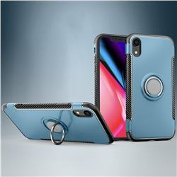 Armor Anti Drop Carbon PC + Silicon Invisible Ring Holder Phone Case for iPhone Xr (6.1 inch) - Navy