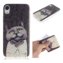 Cat Embrace IMD Soft TPU Cell Phone Back Cover for iPhone Xr (6.1 inch)