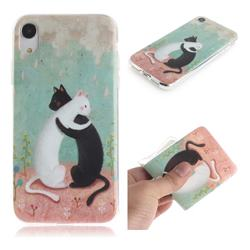 Black and White Cat IMD Soft TPU Cell Phone Back Cover for iPhone Xr (6.1 inch)