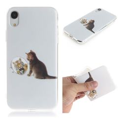 Cat and Tiger IMD Soft TPU Cell Phone Back Cover for iPhone Xr (6.1 inch)