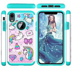 Fashion Unicorn Studded Rhinestone Bling Diamond Shock Absorbing Hybrid Defender Rugged Phone Case Cover for iPhone Xr (6.1 inch)