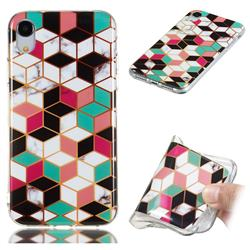 Three-dimensional Square Soft TPU Marble Pattern Phone Case for iPhone Xr (6.1 inch)