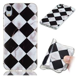 Black and White Matching Soft TPU Marble Pattern Phone Case for iPhone Xr (6.1 inch)