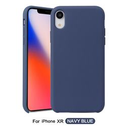 Howmak Slim Liquid Silicone Rubber Shockproof Phone Case Cover for iPhone Xr (6.1 inch) - Midnight Blue