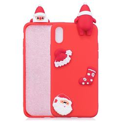 Red Santa Claus Christmas Xmax Soft 3D Silicone Case for iPhone Xr (6.1 inch)