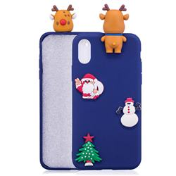 Navy Elk Christmas Xmax Soft 3D Silicone Case for iPhone Xr (6.1 inch)