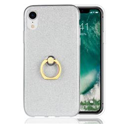 Luxury Soft TPU Glitter Back Ring Cover with 360 Rotate Finger Holder Buckle for iPhone Xr (6.1 inch) - White