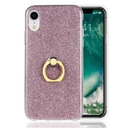 Luxury Soft TPU Glitter Back Ring Cover with 360 Rotate Finger Holder Buckle for iPhone Xr (6.1 inch) - Pink