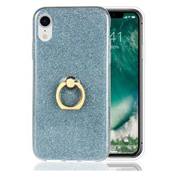 Luxury Soft TPU Glitter Back Ring Cover with 360 Rotate Finger Holder Buckle for iPhone Xr (6.1 inch) - Blue